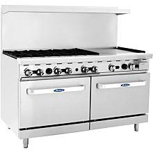"Atosa CookRite ATO-6B24G 60"" Gas Restaurant Range, 6 Burner, 2 Standard Oven, 24"" Manual Griddle - 252,000 BTU"