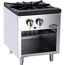 """Atosa CookRite ATSP-18-1 18"""" Gas 2 Burner Single Stock Pot Stove - 80,000 BTU"""