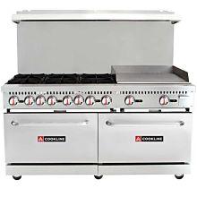 "CR60-24G 60"" 6 Burner Gas Range with 2 Ovens with 24"" Griddle"