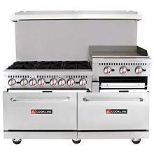 "Cookline CR60-24RG 60"" Gas Commercial Range, 6 Burners, 24"" Raised Griddle & Broiler - 278,000 BTU"