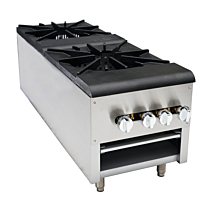 "CSP2 18"" Double Burner Countertop Gas Stock Pot Range"
