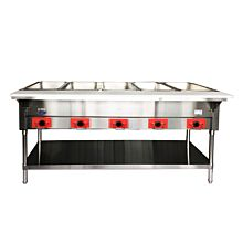 "Atosa CookRite CSTEB-5C 72"" Five Open Well Electric Steam Table with Undershelf - 240v, 3750W"