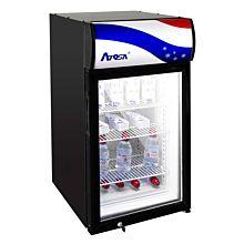 "Atosa CTD-3S 18"" Refrigerated Countertop Glass Door Display Merchandiser with Signage Top - 2.4 Cu. Ft."