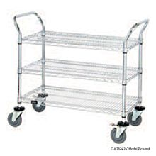 "Global CUC2424 24"" Commercial Chrome Wire Utility Cart"