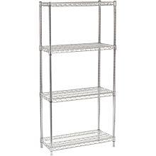 """14"""" x 36"""" Chrome Wire Shelving Kit, 4-Shelf, NSF Listed"""