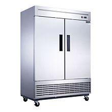 "Dukers D55F 55"" Two Section Solid Door Bottom Mount Reach-In Freezer | 40.74 Cu. Ft."