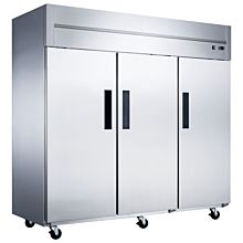 "Dukers D83AF 83"" Triple Section Solid Door Top Mount Reach-In Freezer | 64.8 Cu. Ft"