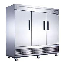 "Dukers D83F 83"" Three Section Solid Door Bottom Mount Reach-In Freezer | 64.8 Cu. Ft."