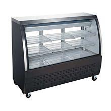 "Coldline DC64-B 64"" Refrigerated Curved Glass Deli Meat Display Case, Black"