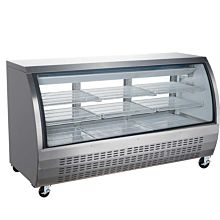 """Coldline DC80-SS 80"""" Refrigerated Curved Glass Deli Meat Display Case, Stainless Steel"""