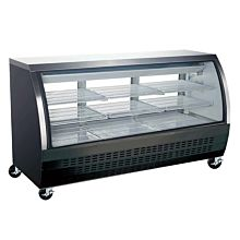 "Coldline DC200B-HC 80"" Curved Glass Refrigerated Deli Display Case, Black"