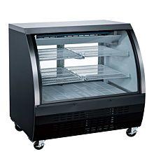 "Coldline DC48-B 48"" Refrigerated Curved Glass Deli Meat Display Case, Black"