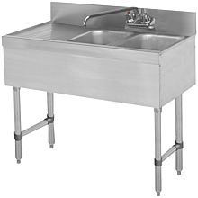 "BAR1014-2L 36"" 2 Compartment Bar Sink , Left Drainboard"