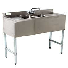 "BAR1014-2RL 48"" 2 Compartment Bar Sink, Right And Left Drainboard"