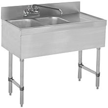 "BAR1014-2R 36"" Two Compartment Bar Sink, Right Drainboard"