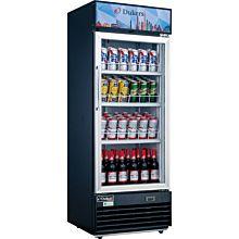"Dukers DSM-12R 25"" One Section Glass Swing Door Upright Showcase Merchandiser Refrigerator - 11.47 Cu. Ft."