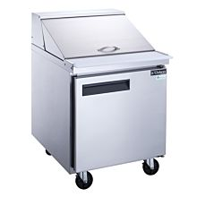 """Dukers DSP29-12M-S1 29"""" 1-Door Commercial Food Prep Table Refrigerator in Stainless Steel with Mega Top - 6.6 Cu. Ft."""