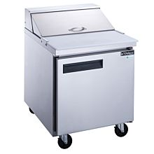 """Dukers DSP29-8-S1 29"""" 1-Door Commercial Food Prep Table Refrigerator in Stainless Steel - 6.6 Cu. Ft."""