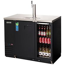 """Everest EBDS2-BBG-24 49"""" Two Solid and Glass Combo Swing Door Direct Draw Keg Refrigerator"""