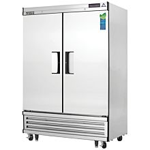 "Everest EBF2 54"" Two Section Solid Swing Door Bottom Mounted Upright Reach-In Freezer, 50 Cu. Ft."