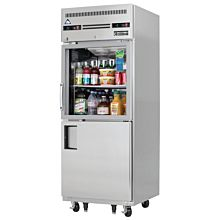 "Everest EGSDH2 29"" One Section Glass and Solid Swing Half-Door Top Mounted Upright Reach-In Dual Temperature Refrigerator/Freezer Combo, 11 Cu. Ft."
