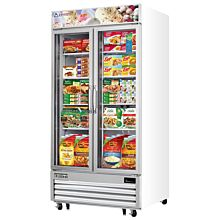 "Everest EMGF36 41"" White Two Section Swing Glass Door Bottom Mounted Merchandisers Freezers, 36 Cu. Ft."