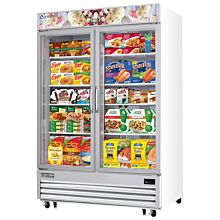 "Everest EMGF48 55"" White Two Section Swing Glass Door Bottom Mounted Merchandisers Freezers, 48 Cu. Ft."