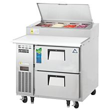 "Everest EPPR1-D2 35"" Two Drawer Pizza Prep Table Refrigerator"
