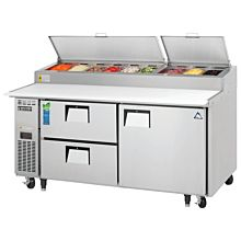 """Everest EPPR2-D2 71"""" Single Door, Two Drawer Pizza Prep Table Refrigerator"""