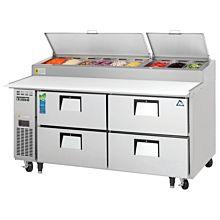 "Everest EPPR2-D4 71"" Four Drawer Pizza Prep Table Refrigerator"