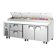 """Everest EPPR3-D2 93"""" Two Door, Two Drawer Pizza Prep Table Refrigerator"""