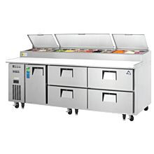 "Everest EPPR3-D4 93"" Single Door, Four Drawer Pizza Prep Table Refrigerator"