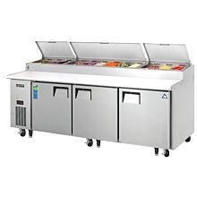 "Everest EPPR3 93"" Three Door Pizza Prep Table Refrigerator"