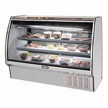"Leader ERHD72 72"" Refrigerated Curved Glass Deli Display Case with 2 Shelves, High, ETL-S"