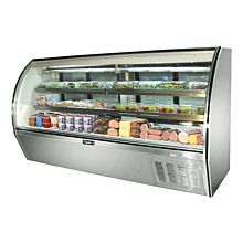 "Leader ERHD96 96"" High Refrigerated Curved Glass Deli Display Case"