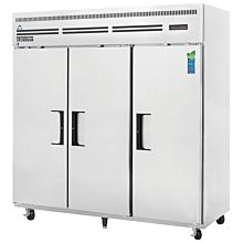 """Everest ESF3 75"""" Three Section Solid Swing Door Top Mounted Upright Reach-In Freezer, 71 Cu. Ft."""