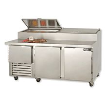 "Leader ESPT72 72"" Pizza Prep Refrigerator with 2 Full and 1 Half Door"