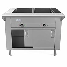 "Prepline ESTC30-2 30"" Two Pan Open Well Electric Hot Food Steam Table with Enclosed Base and Sliding Doors - 120V, 1000W"