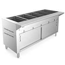 """Prepline GSTC72-5 72"""" Five Pan Gas Hot Food Steam Table with Enclosed Base and Sliding Doors - Sealed Well"""