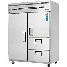 "Everest ESWQ2D2 59"" Two Section Solid Swing Door and Drawer Combo Top Mounted Upright Reach-In Dual Temperature Refrigerator/Freezer Combo, 52 Cu. Ft."