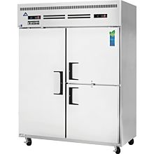 "Everest ESWQ3 59"" Two Section Solid Swing Door Top Mounted Upright Reach-In Dual Temperature Refrigerator/Freezer Combo, 52 Cu. Ft."