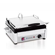 Eurodib SFE02345 Single Panini Grill w/ Grooved Plates, 14 1/2 inch x 9 3/8 inch Cooking Surface, 110V, 1800W