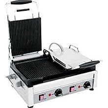 """Eurodib SFE02375-240 - Panini Grill, double, left side flat, right side ribbed, 11"""" x 18"""""""