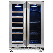 Eurodib USF36B 2 Swing Glass Door Wine Serving & Beverage Cabinet, Triple Temperature, 9 Shelves