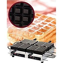 Eurodib Weccbbat, Belgian Waffle Maker, Double W/ 180 Opening, (4) 4 Inch X 6 Inch Capacity