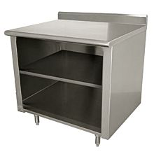 "Enclosed Worktable 24""D x 48""L Stainless Steel with 5"" Backsplash"