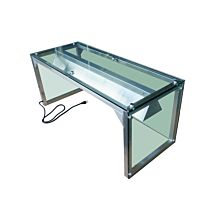 """Prepline PSG-LT-48 48"""" Glass Sneeze Guard with Lamp Bulb for Steam Table"""