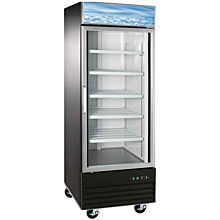 31″ Single Glass Swing Door Merchandiser Freezer - Black