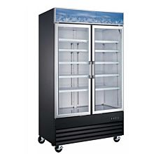 49″ Double Glass Swing Door Merchandiser Freezer - Black