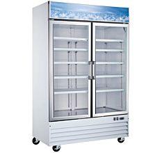 """53"""" Double Glass Swing Door Merchandiser Freezer - White"""